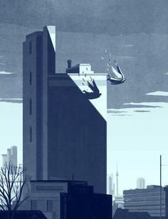 Der Himmel über Berlin - fantastic Wim Wenders inspired #illustration #art by Emiliano Ponzi