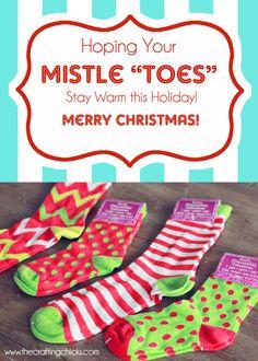 "Mistle ""Toes"" Christmas Socks Gift Tag"