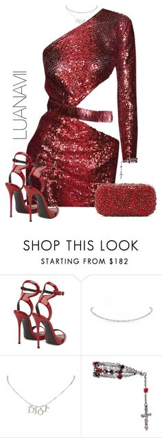 """""""Flames"""" by luanavii ❤ liked on Polyvore featuring Giuseppe Zanotti, Christian Dior, Givenchy, Alice + Olivia, RedCarpet, red, GiuseppeZanotti, Alice and JulienMacdonald"""