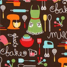 brown apron and kitchen utensils fabric Robert Kaufman