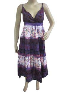 Purple Maxi Dress Women Deep V-neck Printed Embroidered Bohemian Beach Dress: Clothing $29.99