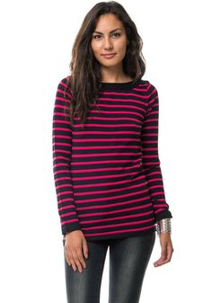 - Details - Shipping - Returns - Styling Suggestions You don't always have to wear dark colors during winter. This is why we added a welcome blast of bright fuchsia stripes to this sweater. Lightweigh