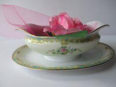 Vintage Noritake Adela Seafoam Green and Pink by thechinagirl