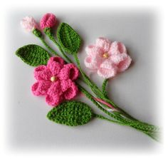 Crochet Applique Flowers and Leaves Set Any by CraftsbySigita,