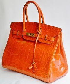 8c2d3b48f6292 35cm Orange Alligator Hermes Birkin from 2012. Sensibly priced at 17