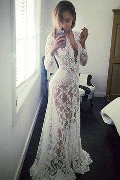 CCO03-White Long Sleeve Lace Maternity Dress