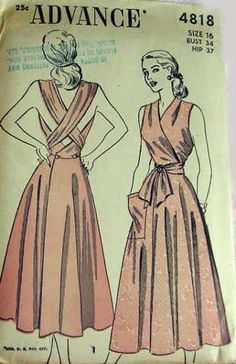 wrap sundress day casual Advance 4818 - Reproduction pattern available at Decades of Style. Vintage Dress Patterns, Clothing Patterns, Vintage Dresses, Vintage Outfits, Wrap Dress Patterns, 1940s Fashion, Diy Fashion, Vintage Fashion, Patron Vintage
