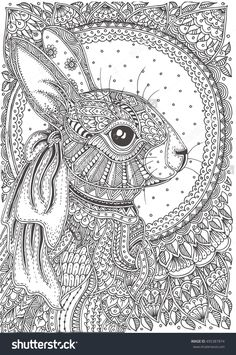 Rabbit hand-drawn with ethnic floral doodle pattern. Coloring page - zendala, design for coloring for adults.