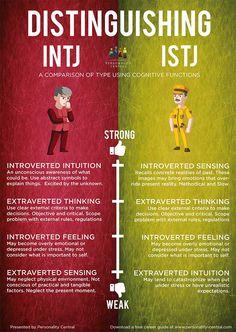 Distinguishing INTJ and ISTJ. Funny. That one of my good friends is an INTJ and I'm ISTJ.