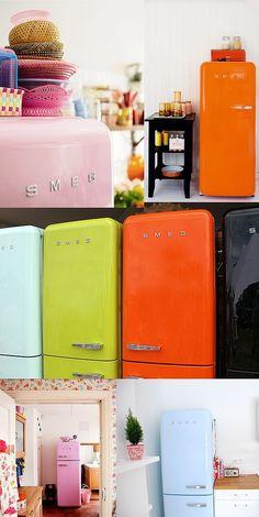 Je rêve d'un de ces superbes frigo coloré ! Chez Smeg, le vert d'eau est superbe !