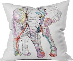 Casey Rogers Elephant Throw Pillow