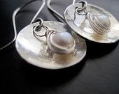 Sterling Silver Textured Domed Earrings, Wire Wrapped Freshwater Pearls