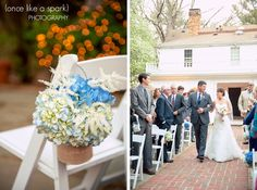"""A House United"", bokeh, orange lights, blue hydrangea, wedding decor, decor ideas, flint hill wedding, outdoor ceremony, wedding photography :: Laura + RJ's Wedding at Flint Hill Mansion in Norcross, GA :: with Nikki"