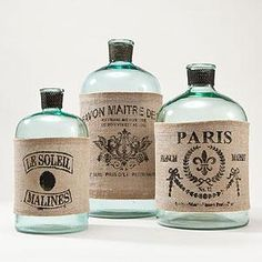 Easy Vintage Elegance~ make the labels by printing on burlap then attach them to the glass bottles Apothecary Bottles, Bottles And Jars, Glass Bottles, Antique Bottles, Printing On Burlap, Printed Burlap, Burlap Crafts, Diy Crafts, Perfume