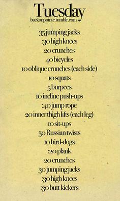 Tuesday workout plan(: