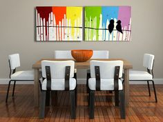 Rainbow Love Birds Art On Canvas - Large Original Acrylic Abstract Birds On A Wire Silhouette Painting Livingroom Wall Art Decor