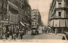 Rue de Clignancourt. A droite immeuble avec bistro à l'angle avec la rue Poulet (36 Clignancourt)