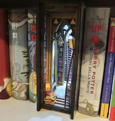 Alchemy library Diorama Bookshelf Insert Pick Up, Narrow Bookshelf, Bookshelves, Alchemy, 9 Volt Battery, Vampire Books, Hobbit Hole, Wedding Photo Albums, Book Sculpture