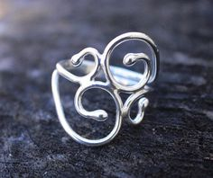 Sterling Silver Ring Swirly .925 Swirl ring by MountainMetalcraft