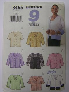 2002 Butterick 3455 EASY 9 JACKETS and TOPS Pattern sz 8-10-12 UNcut by RaggsPatternStash on Etsy