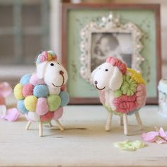 Unique Gift Elegant Home Decor Colorful Wool Felt Craft Handmade sheep design…