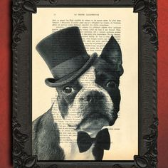 Boston Terrier Original Artwork Print on an by MadameMemento, $7.99