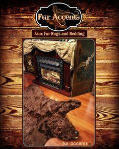 Hand Made Brown Bear Skin Pelt Rug / Premium Faux Fur / Americana Art Rug Collection by FurAccents.