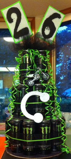 Can cake tower for my husbands birthday! Were having a Monster Energy themed birthday party! Monster Birthday Parties, Monster Party, Birthday Party Themes, Birthday Ideas, Rockstar Energy Drinks, Monster Energy Cake, Birthday Cake Drink, Bachelor Wedding