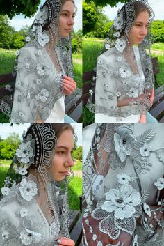 Veil Types, Types Of Veils, Catholic Veil, Russian Wedding, Vintage Veils, Chapel Veil, Bohemian Wedding Inspiration, Lace Embroidery, Wedding Veil