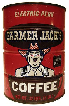 Farmer Jack's Coffee tin can Coffee Shops, Coffee Tin, I Love Coffee, Coffee Break, Espresso Coffee, Coffee Mugs, Café Vintage, Vintage Food, Vintage Labels