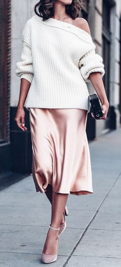 beautiful outfit / one shoulder white sweater + silk skirt + heels