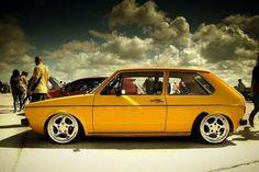 Dark skies. Sunny Mk1 Vw Golf Cabrio, Vw Mk1, Volkswagen Golf, Classic Golf, Classic Cars, Yellow Car, Golf 1, Vw Cars, Cars