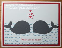 Card Made with Stampin'UP!'s new whale die cut and Oh, Whale stamp set and Oh, Wave Wheel