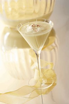 Egg Nog Martini recipe...eggnog, vanilla vodka, amaretto..top with a little whipped cream, dust with cinnamon or nutmeg:)