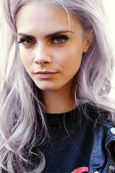 Cara and her amazing gray with violet pastel hair