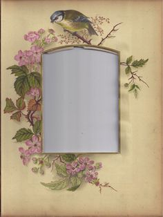 Photograph Mat from Victorian Photo Album, Bird, Pink Wild Roses