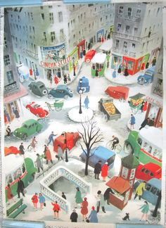 French Vintage School Poster Paris France. Illustrated by Hélène Poirié in the 1950's