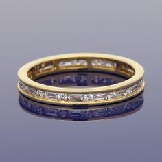 18ct Baguette & Round Brilliant Cut Diamond Full Eternity Ring £995.00 Full Eternity Ring, Gold Art, Baguette, Wedding Bands, Diamond, Metal, Rings, Jewelry, Style