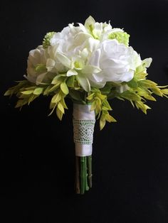 White Rose Peony and Orchid Hand-Tied Bouquet by blumarieboutique