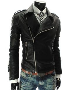 Fashion Style Turndown Collar Slimming Multi-Zipper Embellished Long Sleeves PU Leather Coat For Men