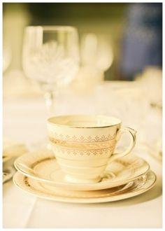 Cream and Gold teacup. #vintage #bettyrosevintage #wedding