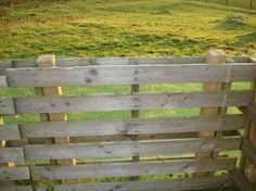 Pallets slipped over fence posts for a quick fence or dog kennel