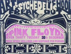 In 1966, Pink Floyd performed the Art School Psychedelic Freak Out concert at Cambridge's College of Art and Technology, and here's the poster, showing how the original date of the gig changed (or was misprinted).