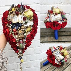 Dreaming of a Disney fairytale wedding will all the romance and theme of beauty and the beast then this is the only bouquet for you. Measuring over 60cm in length you are sure to be the Belle of the Ball at your wedding. Available to order in any colour scheme via my etsy store maddisonrocks.etsy.com Crow Skull, Bird Skull, Science Wedding, Disney Inspired Wedding, Corsage Wedding, 4th Of July Wreath, Beauty And The Beast, Fairytale, Etsy Store