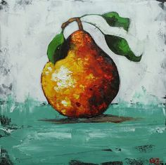 Pear painting 35 18x18 inch original oil painting by Roz by RozArt