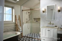 Forté® showerhead Forté handshower A variety of patterns and textures–in the shower, on the floor and on the walls–can create surprising visual interest. Rustic Bathroom Faucets, Farmhouse Bathrooms, Bathroom Black, Shower Fixtures, Luxury Shower, Traditional Bathroom, Bathroom Inspiration, Bathroom Ideas, Bathroom Interior Design