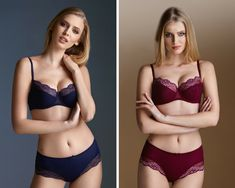 New to the Summer Collection is this gorgeous lingerie set! A beautiful padded/underwired bra with lace decorating the cups! Available in navy blue or berry!