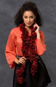 Crochet Ruffle Scarf using RED HEART® Filigree free pattern.