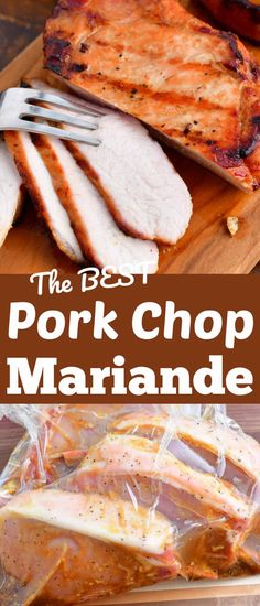 This pork chop marinade is the best for flavorful, juicy, caramelized pork chops. It's an easy marinade but it will infuse the meat with so much flavor, whether you marinate it for 2 hours or overnight. This pork marinade will work perfectly with grilled, pan-seared, and baked recipes. Easy Pork Chop Marinade, Pork Marinade Recipes, Marinated Pork Chops, Pork Chop Recipes, Grilling Recipes, Cooking Recipes, Marinate For Pork Chops, Ham Recipes, Grilled Pork