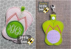 flip flops summer monogram key fob AND snap by designsbylittlebee